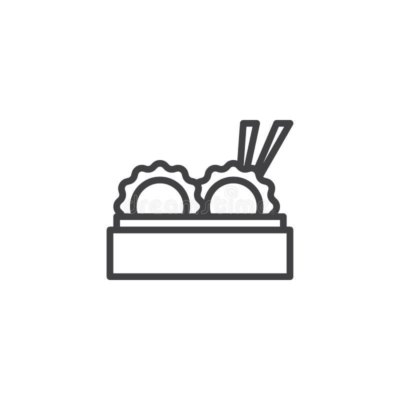 Bolas de masa hervida chinas en el icono de bambú del esquema de la cesta del vapor stock de ilustración