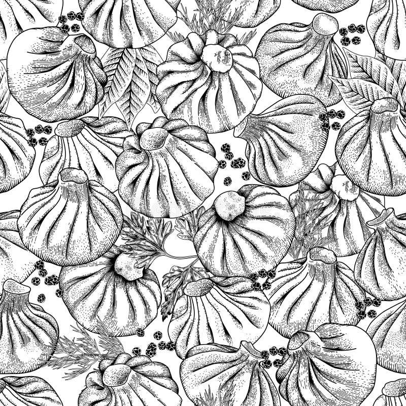 Bolas de masa hervida de la carne Alimento Khinkali, Manty, pelmeni, Gedza Cocina nacional Platos de diversas naciones stock de ilustración