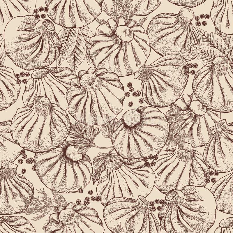 Bolas de masa hervida de la carne Alimento Khinkali, Manty, pelmeni, Gedza Cocina nacional Platos de diversas naciones ilustración del vector