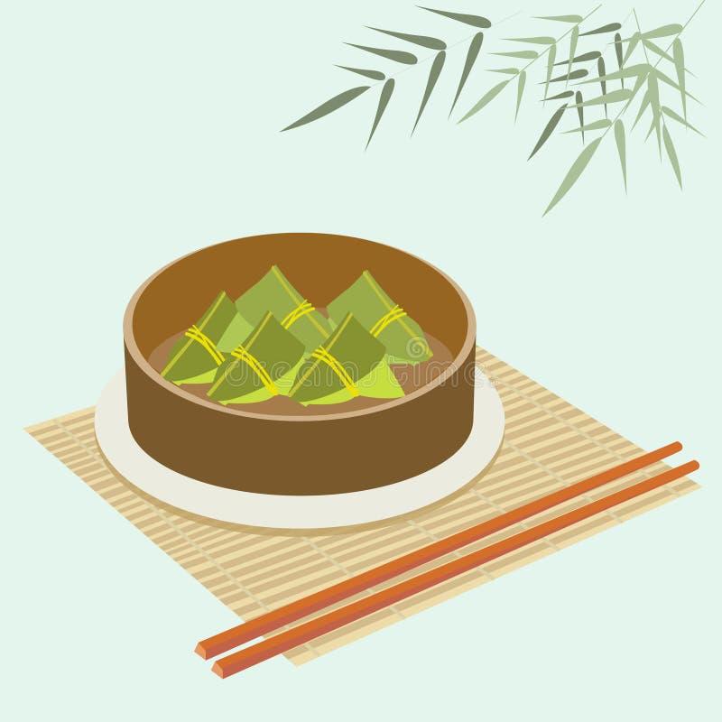 Bolas de masa hervida del arroz en el vapor de bambú de la comida libre illustration