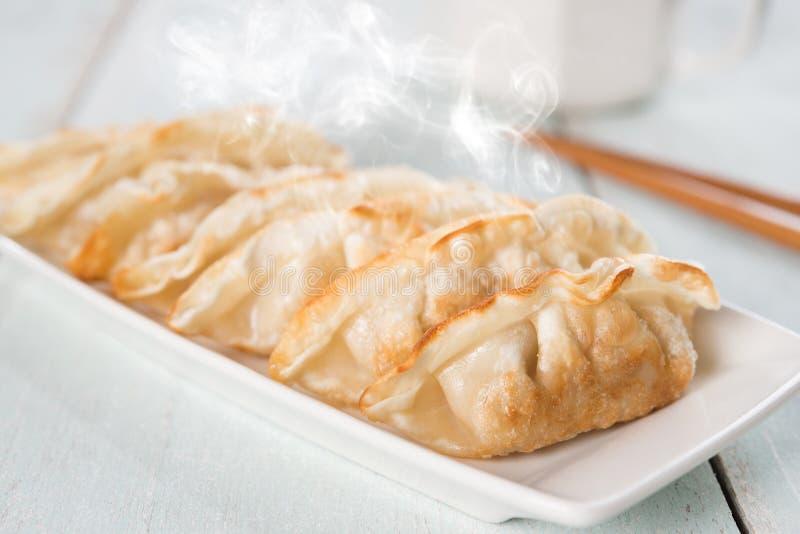 Bolas de masa hervida fritas cacerola asiática del plato fotografía de archivo