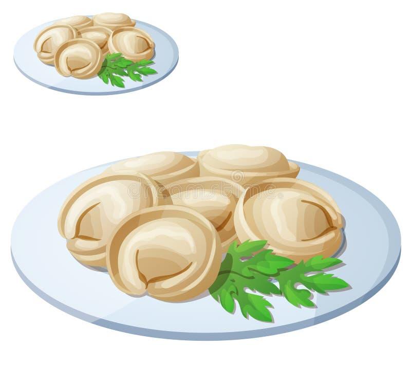 Bolas de masa hervida de la carne de Pelmeni Icono del vector de la historieta stock de ilustración