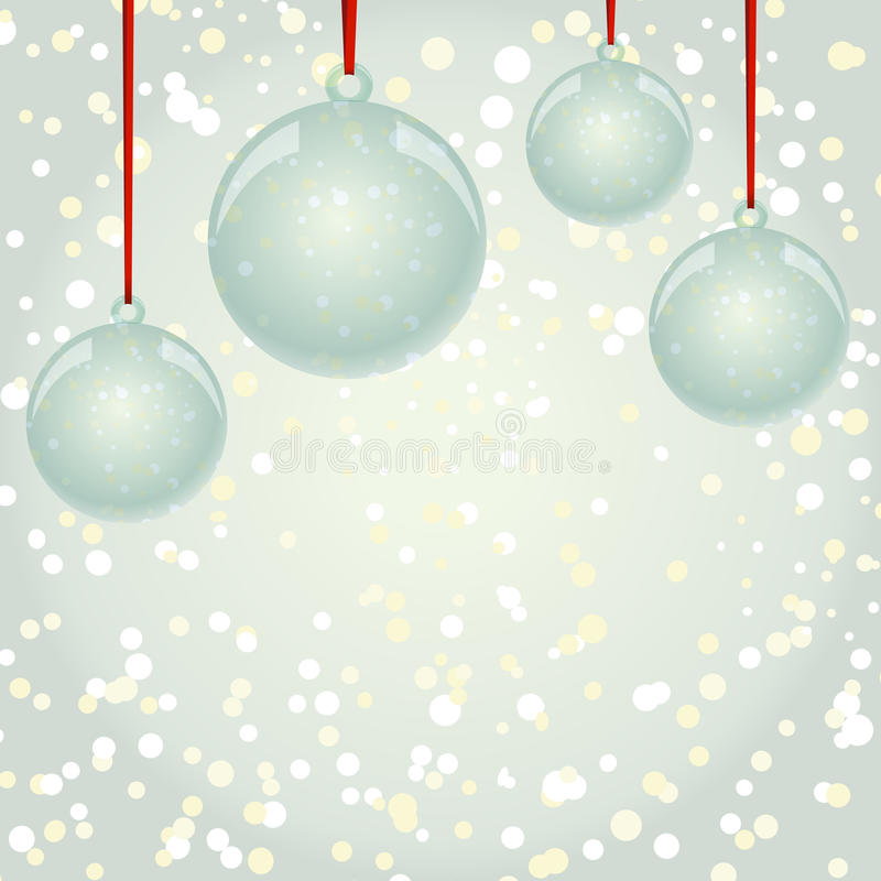 Bolas de NewYear do Natal com a fita que pendura no backgr dos flocos de neve ilustração stock