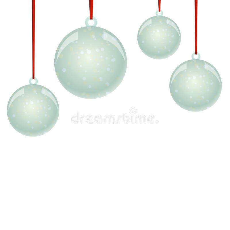 Bolas de NewYear do Natal com flocos de neve e suspensão da fita ilustração royalty free