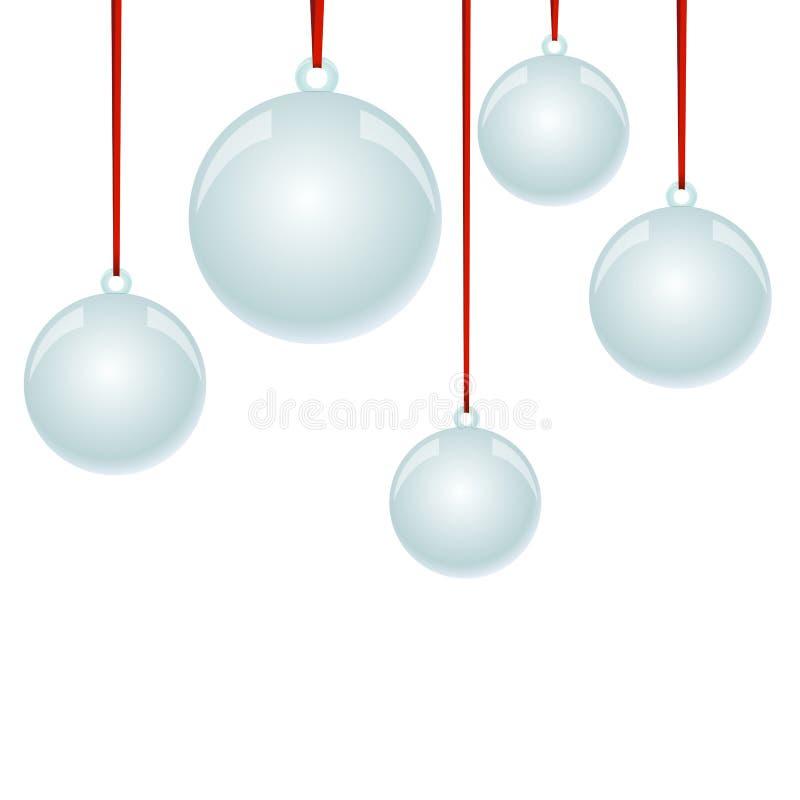Bolas de NewYear do Natal com suspensão da fita ilustração stock