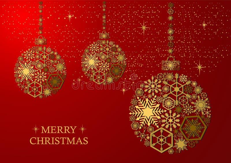 Bolas de oro de la Navidad en un fondo rojo stock de ilustración