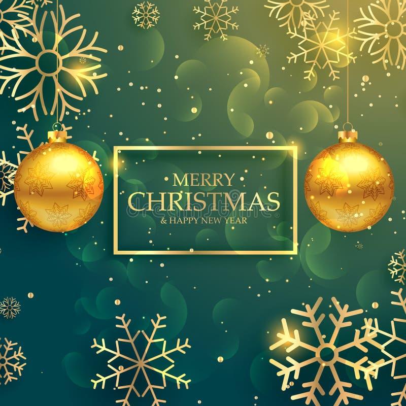 Bolas de oro elegantes de la Navidad en fondo de lujo del estilo ilustración del vector