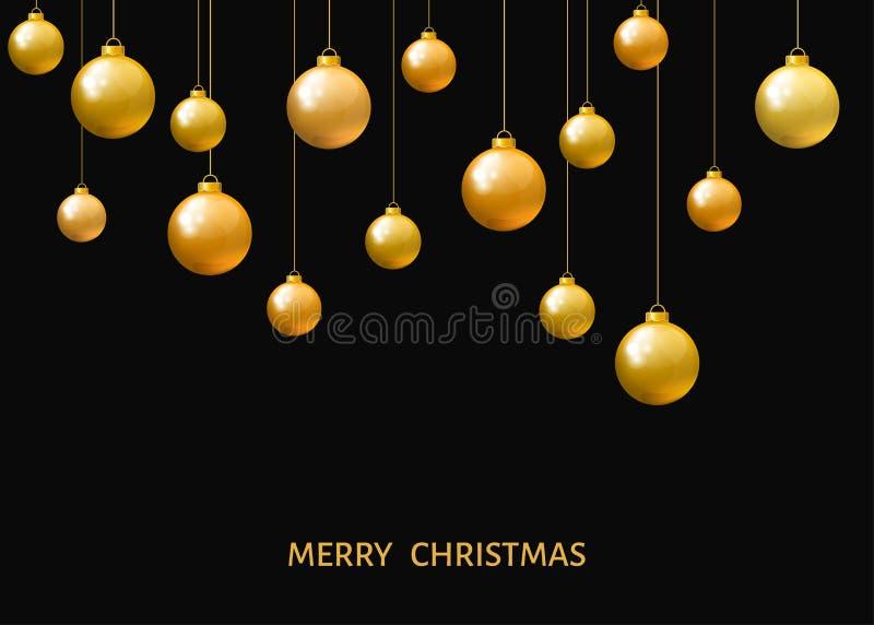 Bolas de oro de la Navidad de la ejecución aisladas en fondo negro ilustración del vector