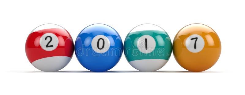 Bolas de piscina del billar con 2017 números ilustración del vector