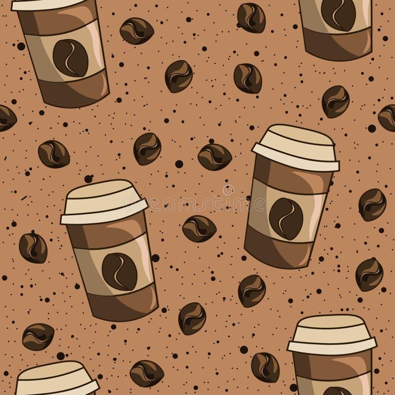 Bolas de plástico y granos de café con salpicaduras de líquido al fondo Patrón sin problemas de cafeína, café con leche en un vas ilustración del vector