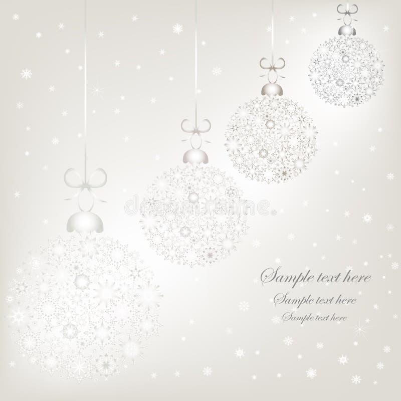 Bolas de plata de la Navidad de los copos de nieve fotos de archivo libres de regalías