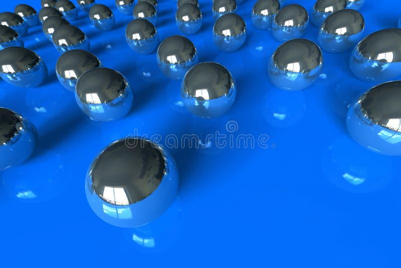 Bolas de rolamento no azul ilustração do vetor