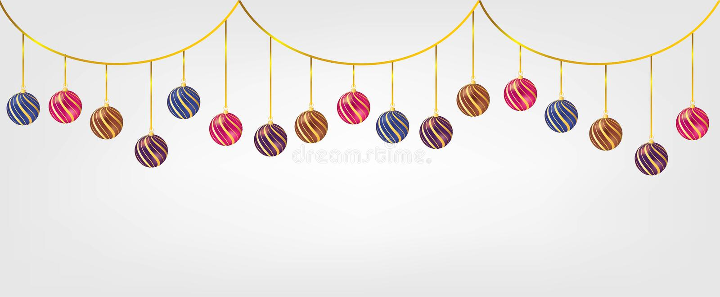 Bolas de suspensão de Chirstmas isoladas no fundo branco Elemento para o projeto do vetor do Natal e do ano novo feliz ilustração royalty free