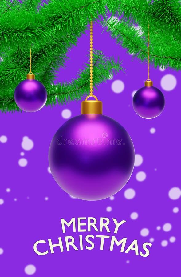 Bolas de suspensão do Natal com rendição dos cumprimentos 3d
