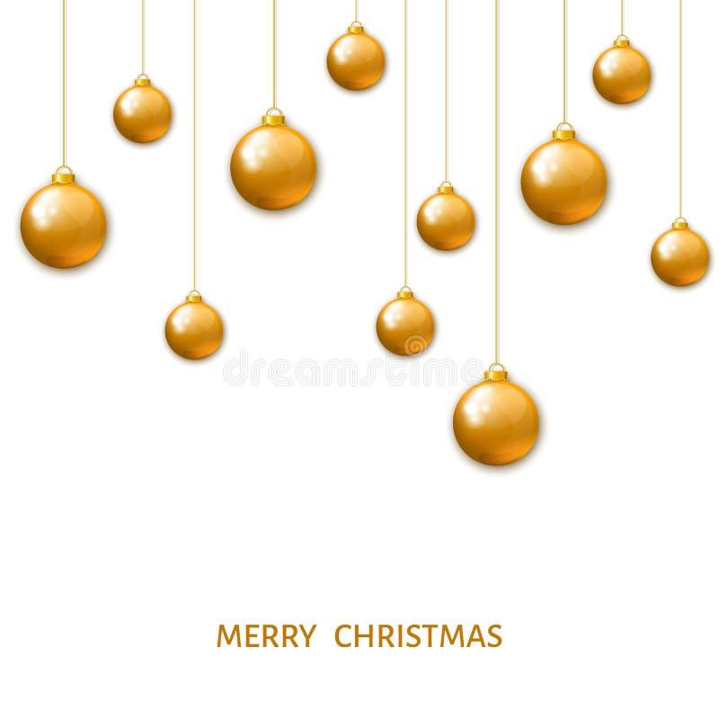 Bolas de suspensão douradas do Natal isoladas no fundo branco ilustração royalty free