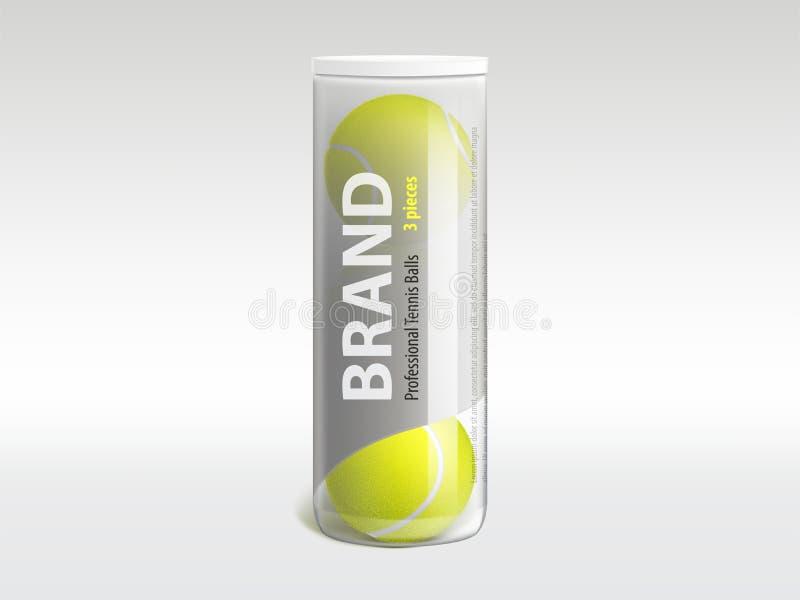 Bolas de tênis no vetor realístico de empacotamento marcado ilustração stock