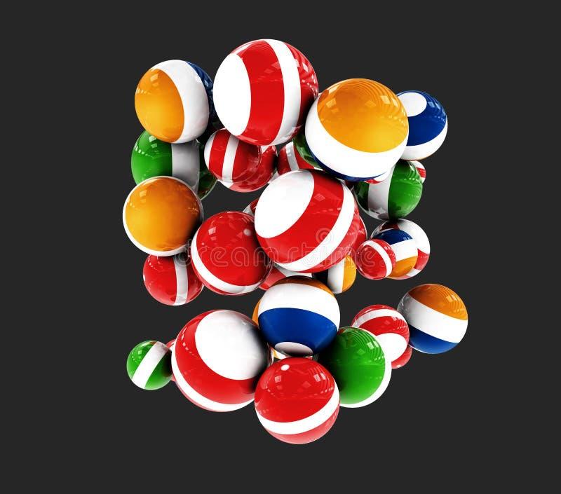 Bolas decorativas coloridos no fundo preto, ilustração 3d ilustração royalty free