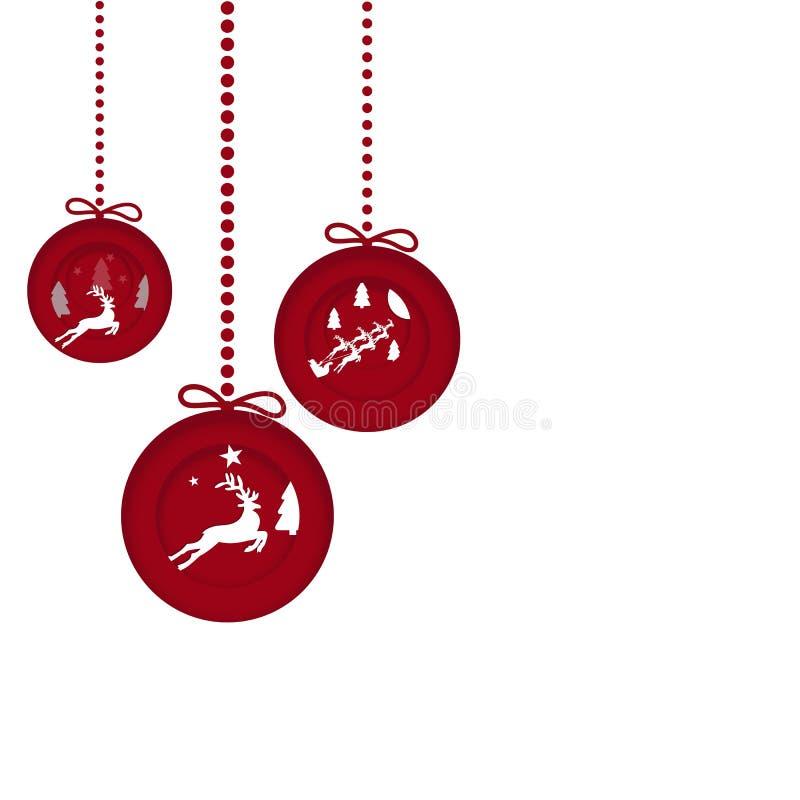 Bolas decorativas do Natal, cartão de Natal do vetor Ilustrações para seu projeto ilustração royalty free