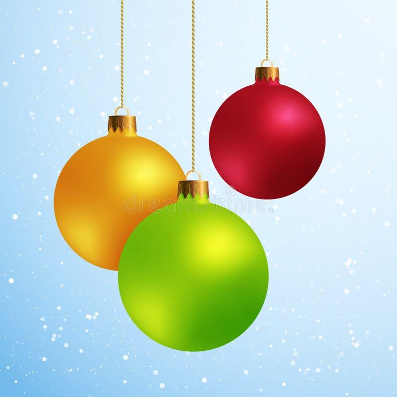 Bolas decorativas do Natal dos elementos do projeto isoladas na neve azul ilustração do vetor