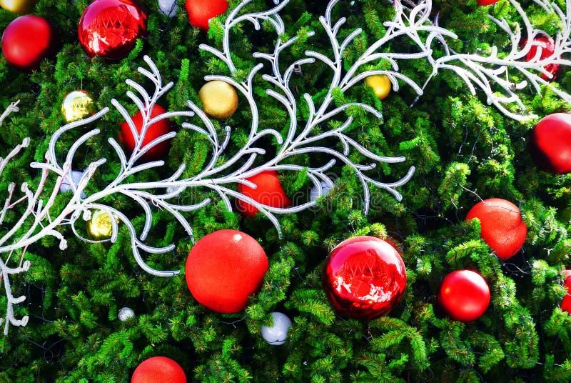 Bolas decorativas vívidas do vermelho e do ouro na árvore de Natal fotos de stock