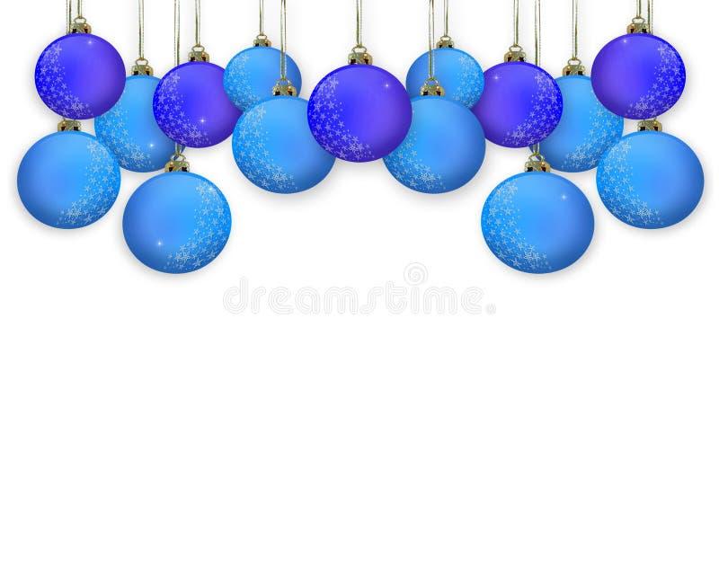 Bolas del azul de la frontera de la Navidad libre illustration