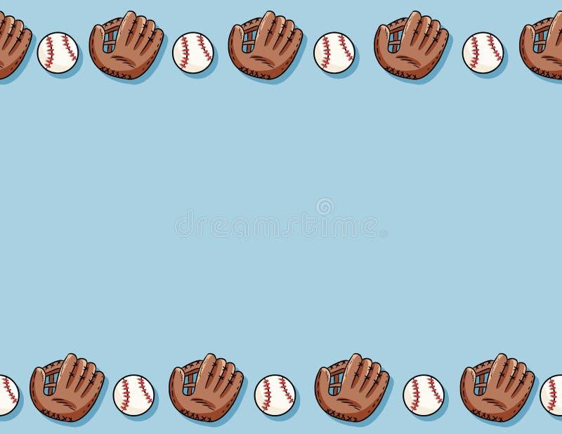 Bolas del béisbol y modelo inconsútil de los guantes Plantilla de la letra Béisboles exhaustos de la mano linda del garabato en l ilustración del vector