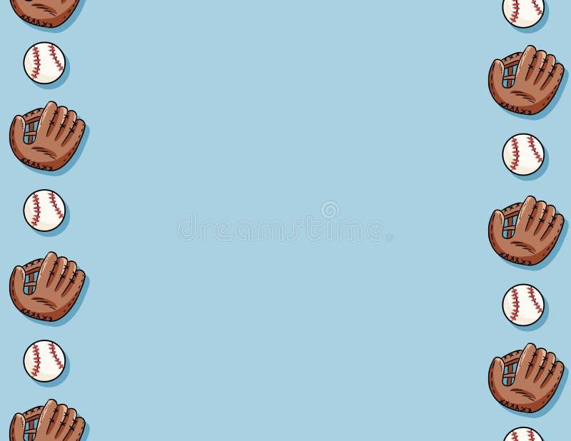 Bolas del béisbol y modelo inconsútil de los guantes Plantilla de la letra Béisboles exhaustos de la mano linda del garabato en l stock de ilustración