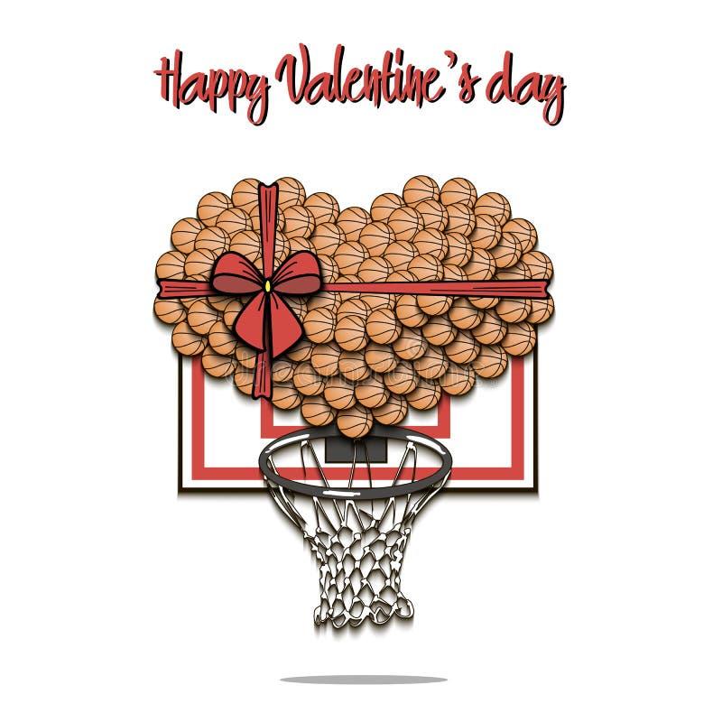 Bolas del baloncesto presentadas en la forma del corazón ilustración del vector