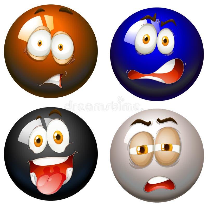 Bolas del billar con expresiones faciales stock de ilustración