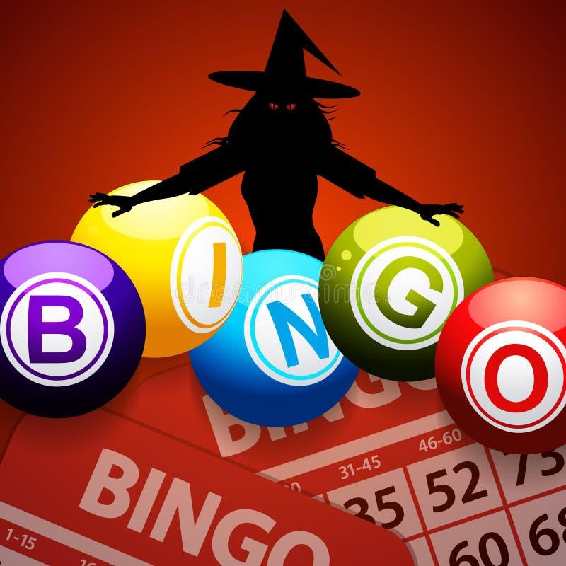 Bolas del bingo de Halloween y bruja fantasmagórica stock de ilustración