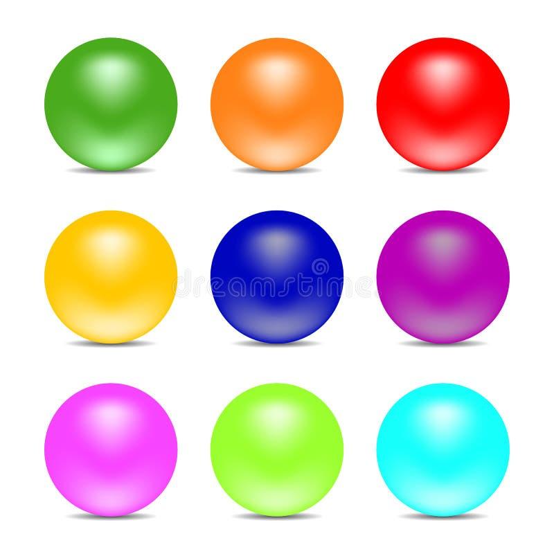Bolas del color del arco iris aisladas en el fondo blanco Esferas brillantes Fije para los elementos del diseño Ilustración del v ilustración del vector