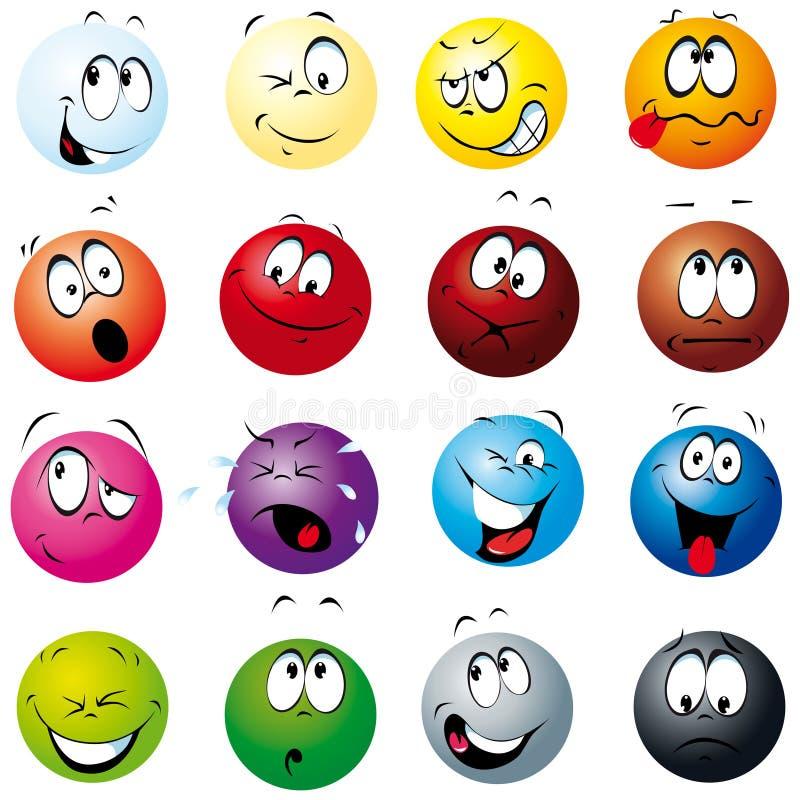 Bolas del color con muchas expresiones stock de ilustración
