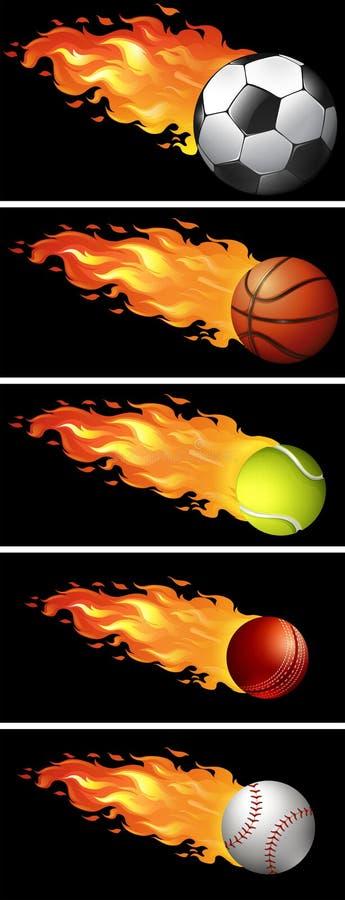 Bolas del deporte en el fuego stock de ilustración