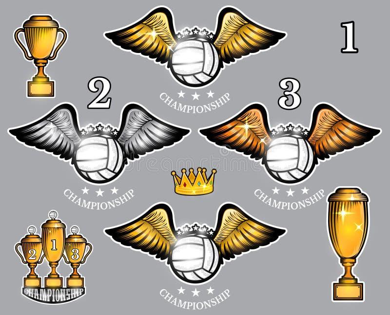 Bolas del voleibol con las tazas y la corona de las alas Sistema del vector del logotipo del deporte para cualquier equipo stock de ilustración