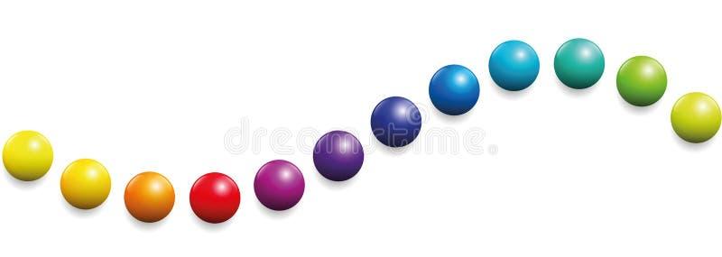 Bolas do arco-íris da onda doze do espectro de cor ilustração stock