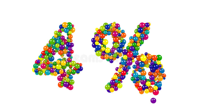 Bolas do balão que formam um símbolo de quatro por cento ilustração do vetor