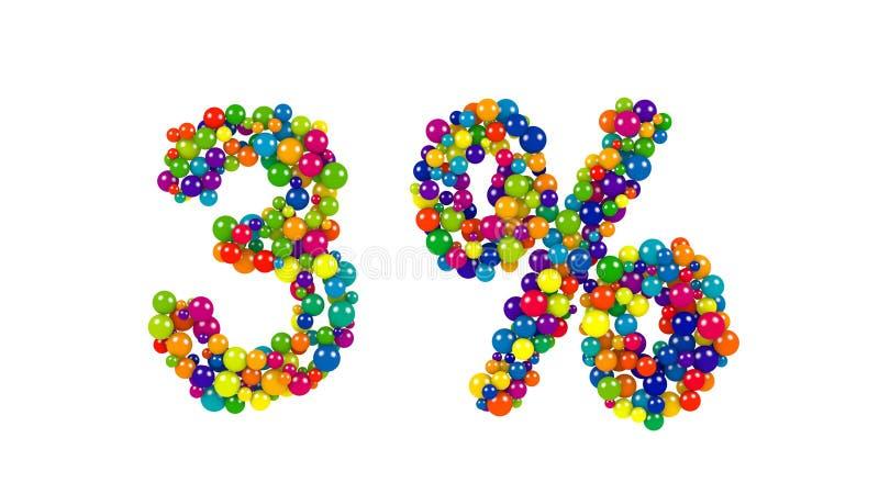Bolas do balão que formam um símbolo de três por cento ilustração royalty free