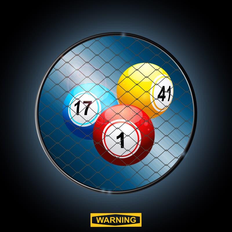 Bolas do Bingo em uma gaiola e em um sinal de aviso da beira ilustração do vetor