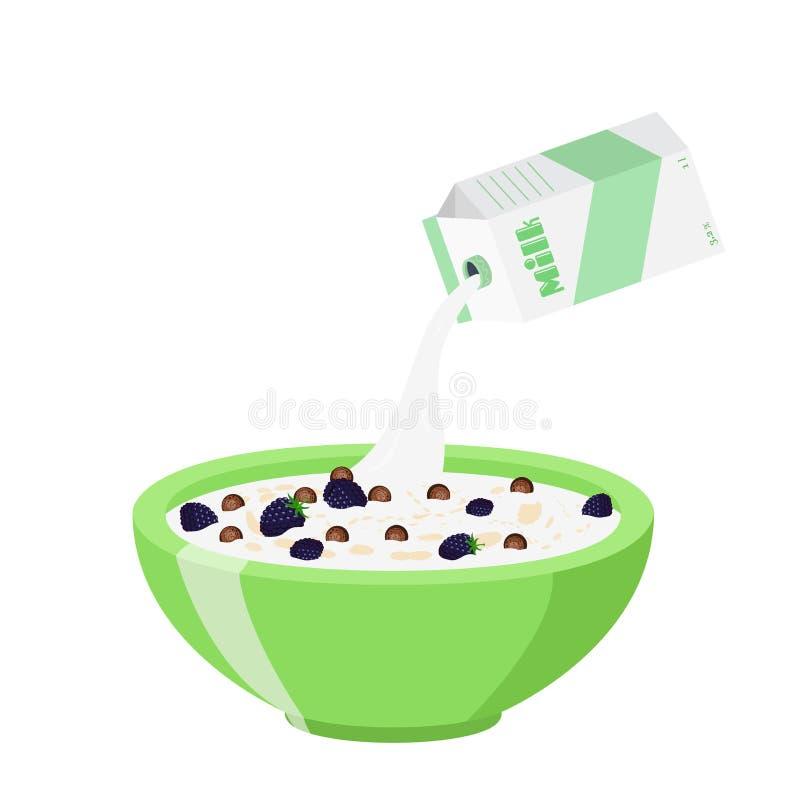 Bolas do chocolate do cereal com amora-preta Leite, estilo liso do café da manhã da farinha de aveia ilustração royalty free