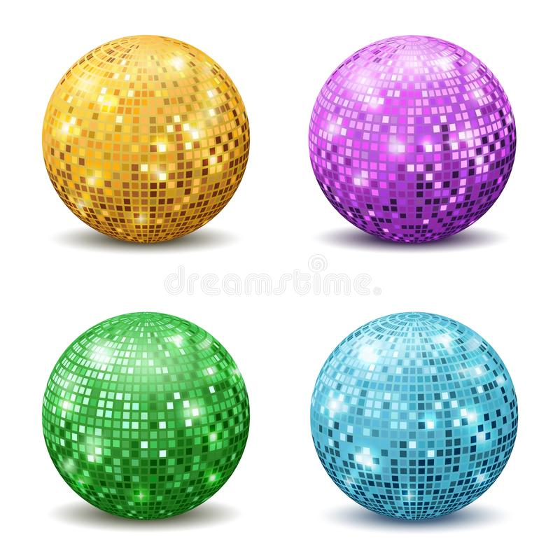 Bolas do disco da cor Do equipamento de prata do brilho do partido de disco da reflexão bola realística grupo retro espelhado do  ilustração do vetor