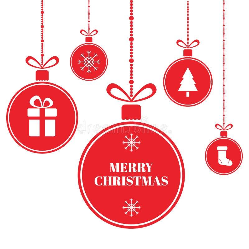 Bolas do Feliz Natal no fundo azul com neve e flocos de neve Cartão do feriado do ano novo Bolas brilhantes do Xmas do vermelho c ilustração stock