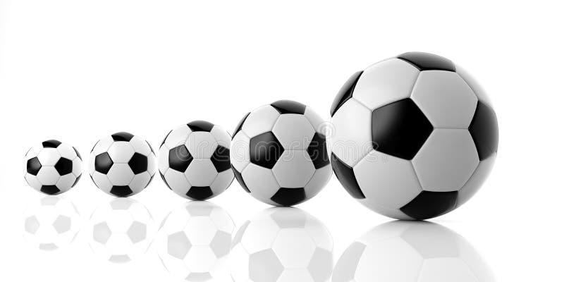 Bolas do futebol do futebol de vários tamanhos ilustração stock