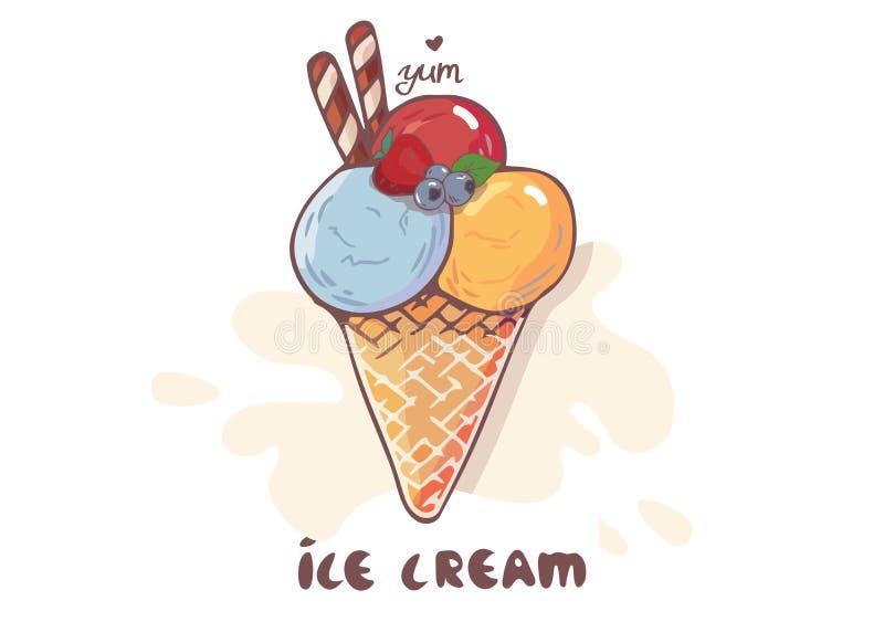 Bolas do gelado no cone do waffle isolado no fundo branco Ícone liso do esboço do vetor na ilustração do estilo dos desenhos anim ilustração do vetor