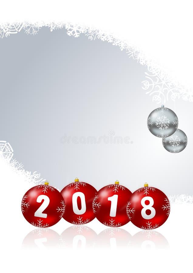Bolas 2018 do Natal do cartão do ano novo feliz no fundo branco dos flocos de neve com ilustração stock