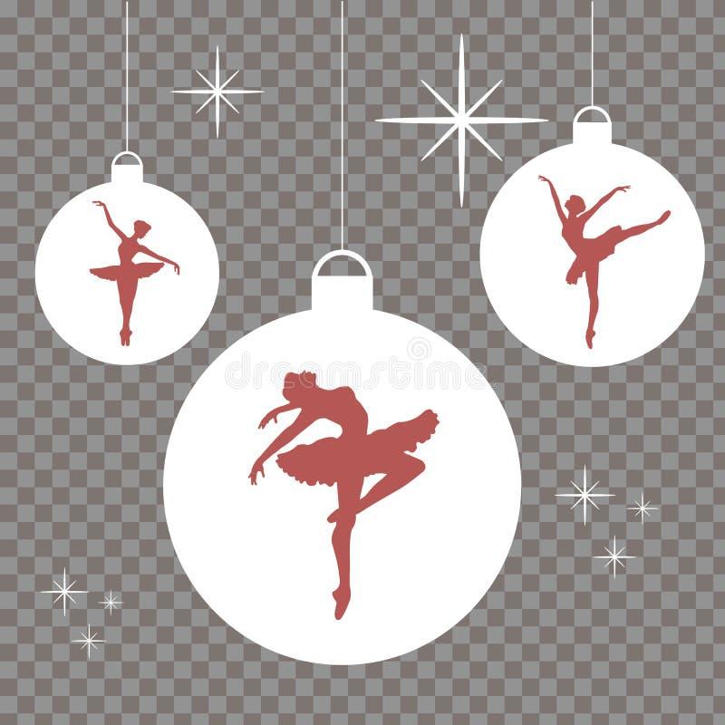 Bolas do Natal com as silhuetas vermelhas das bailarinas ilustração royalty free