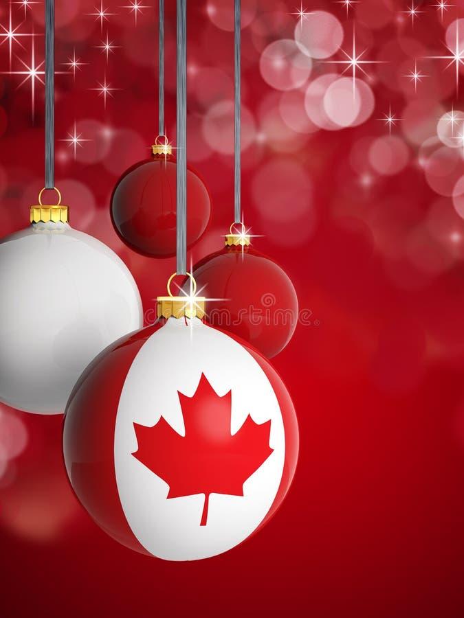 Bolas do Natal com bandeira canadense ilustração stock