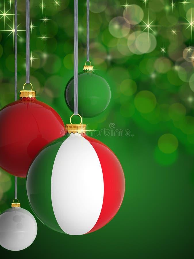 Bolas do Natal com bandeira italiana ilustração stock