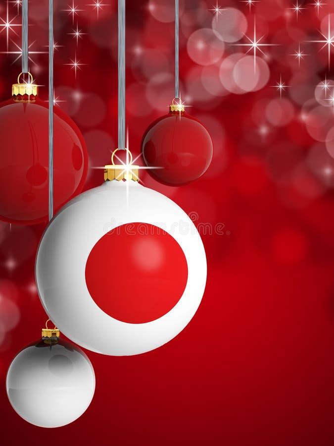 Bolas do Natal com bandeira japonesa ilustração do vetor