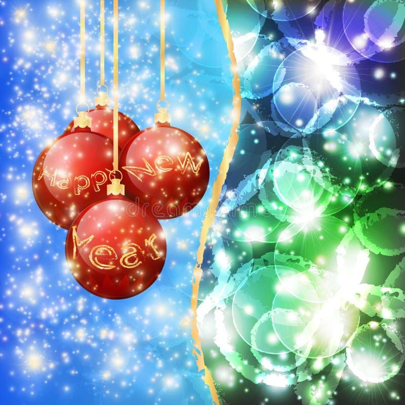 Bolas do Natal com o ano novo feliz das palavras em um fundo azul esverdeado 10 EPS ilustração stock