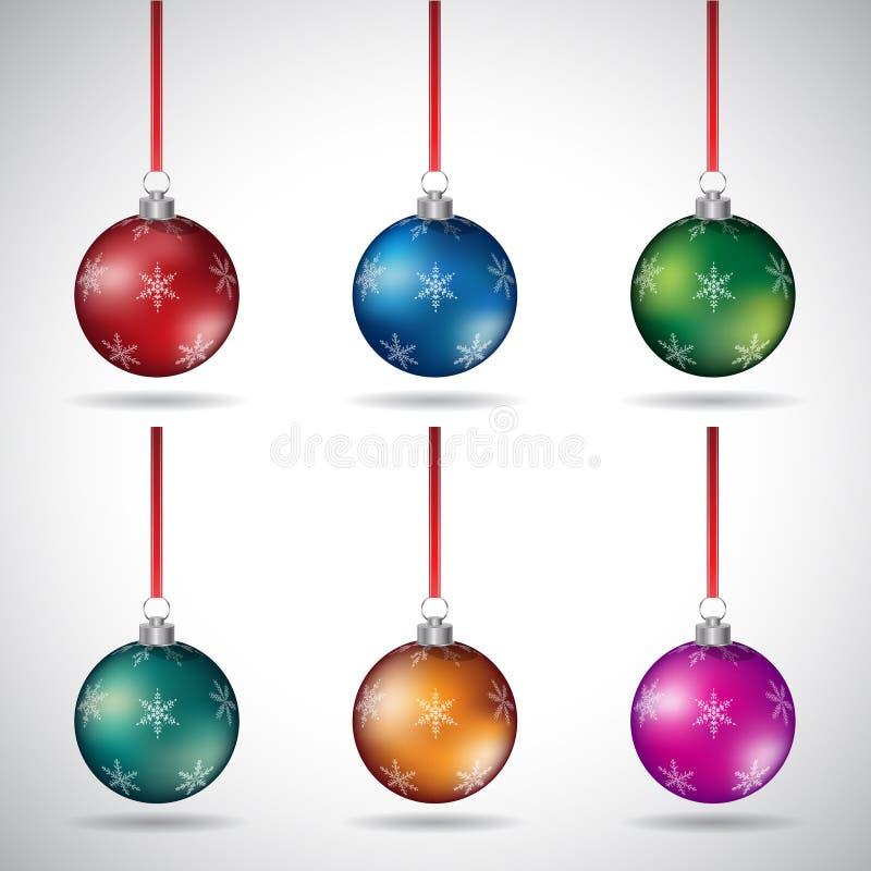 Bolas do Natal com vários projetos do floco de neve e a fita vermelha VE ilustração stock
